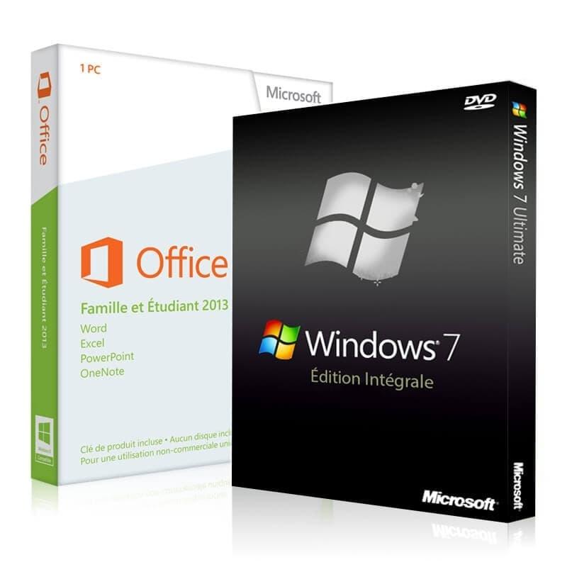 Windows 7 Intégrale + office 2013 famille et etudiant