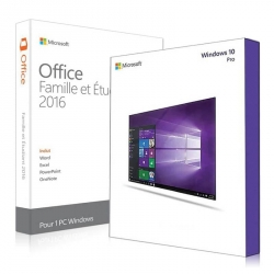 Windows 10 Pro + Office 2016 famille et etudiant