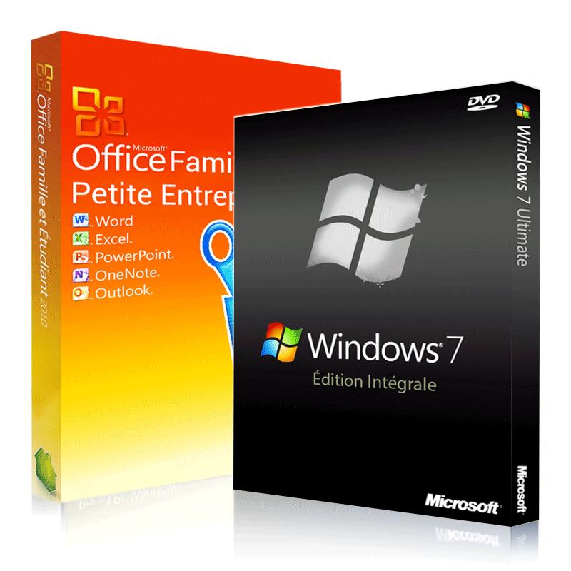 Windows 7 intégrale + Office 2010 famille & petites entreprises