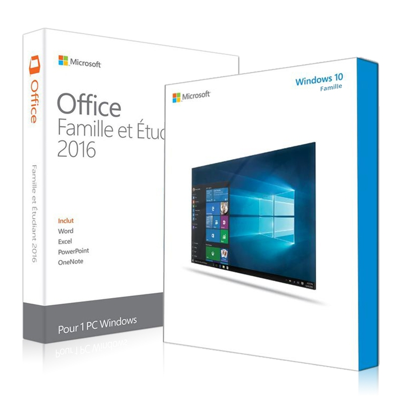 Windows 10 Famille + Office 2016 famille et etudiant
