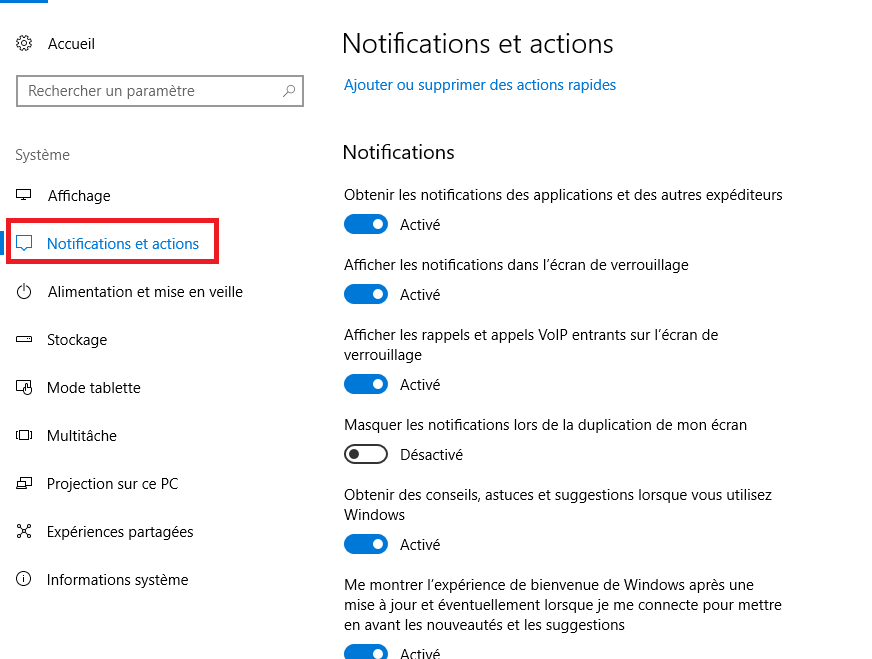 Désactiver les notifications dans Windows 10-3