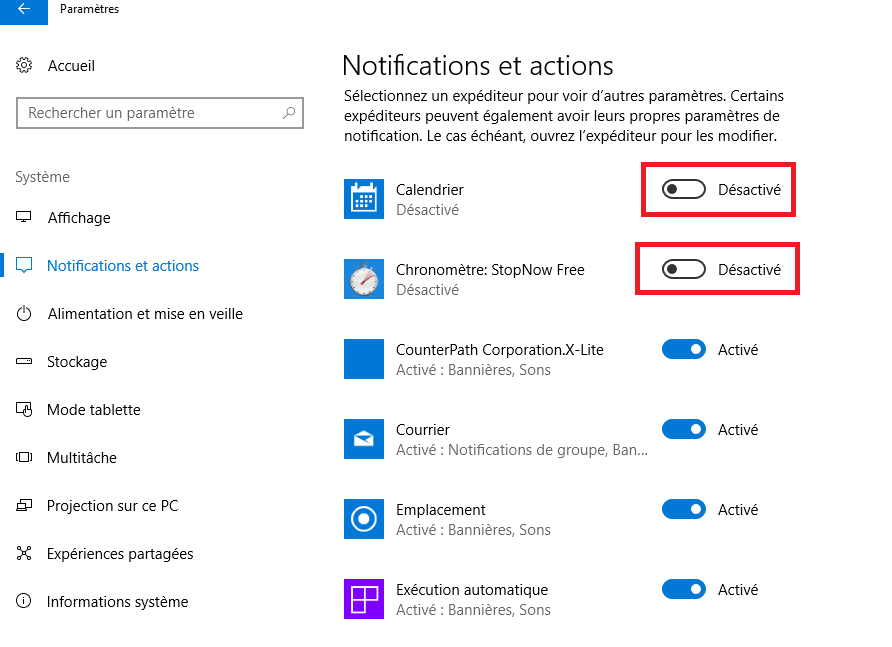 Désactiver les notifications dans Windows 10-4