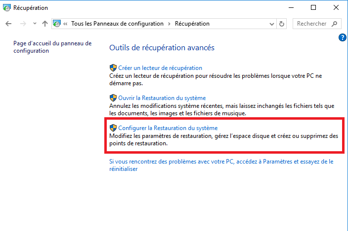 4-Comment créer un point de restauration Windows 10