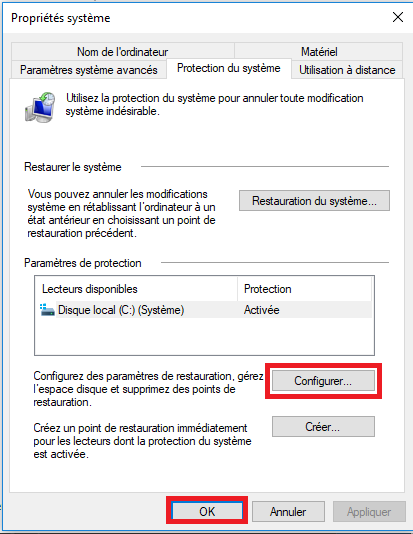 6-Comment créer un point de restauration Windows 10