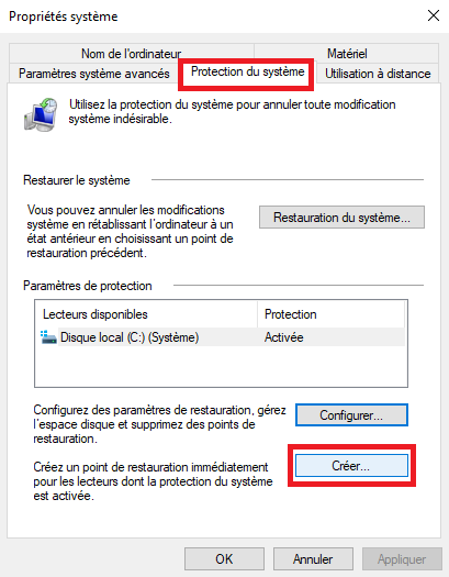 8-Comment créer un point de restauration Windows 10