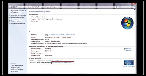 Comment activer une licence Windows 7