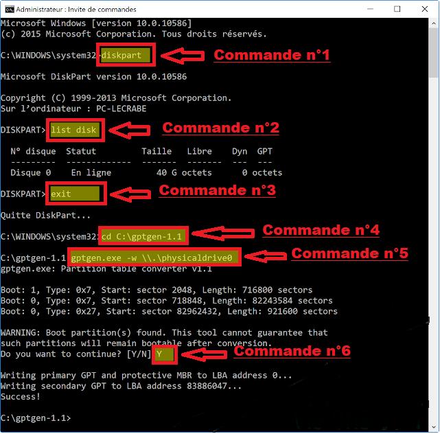 comment convertir un disque mbr en gpt sous windows 7  8 et 10