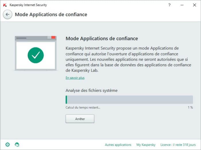 activer Mode Applications de confiance kaspersky 2016