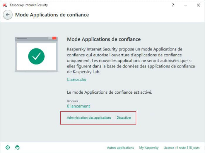 Desactiver Mode Applications de confiance kaspersky 2016
