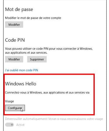 configuration-windows hello