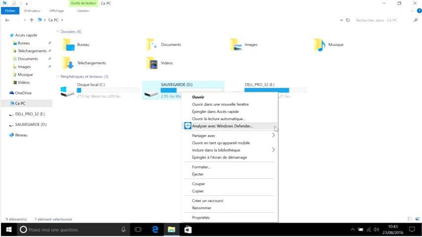 analyser avec windows defender