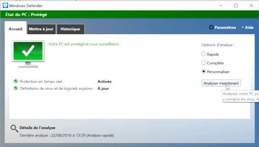 option d'analyse-windows defender