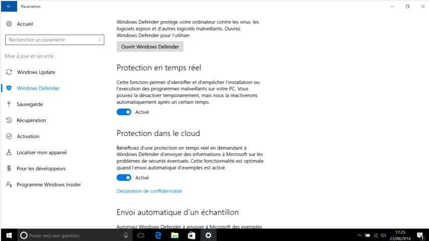 Ouvrir windows defender